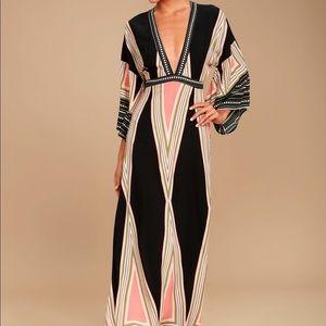 Montecito Black Print Maxi Dress